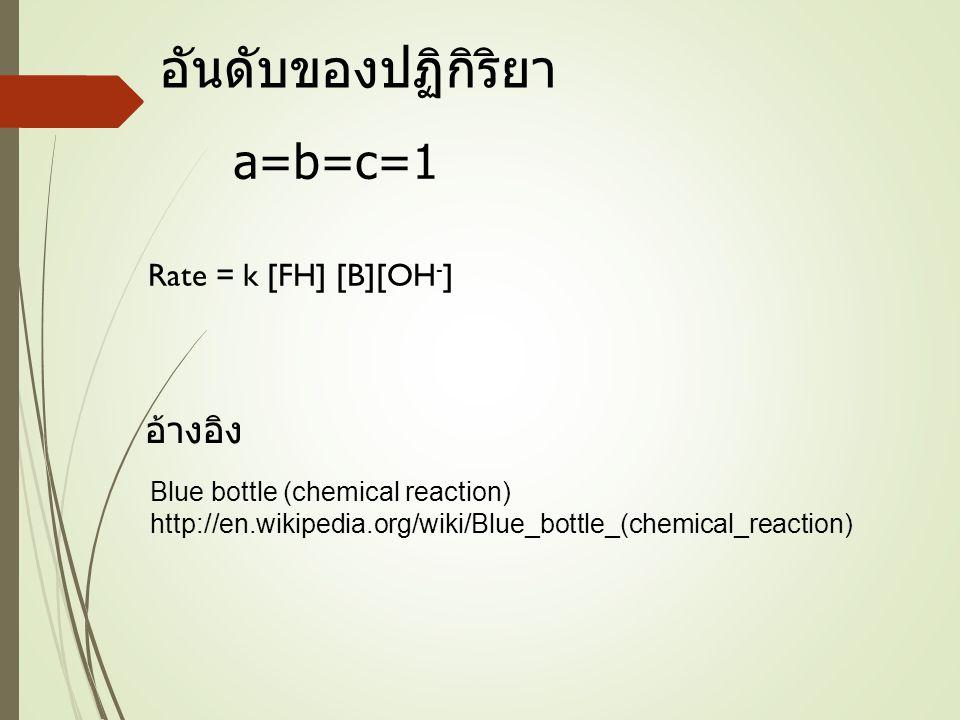 อันดับของปฏิกิริยา a=b=c=1 อ้างอิง Rate = k [FH] [B][OH-]